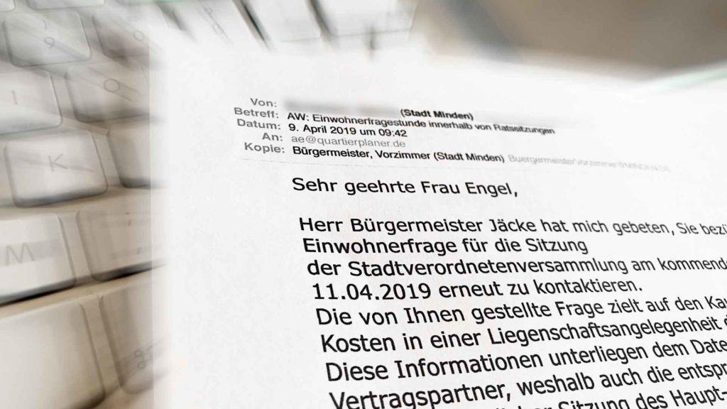E-Mail der Stadt Minden mit Absage der Einwohnerfrage