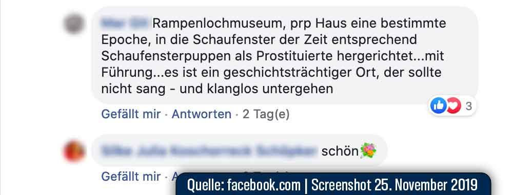Screenshot Facebook Kommentar zum Rampenloch