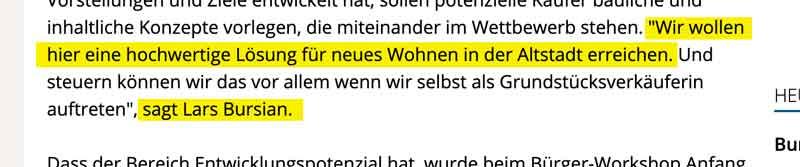 Zitat Lars Bursian aus Artikel des Mindener Tageblatt vom 2. März 2018