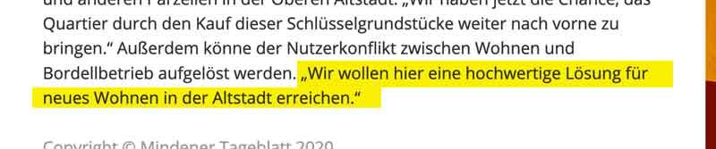 Zitat Stadtverwaltung aus Artikel des Mindener Tageblatt vom 3. März 2018